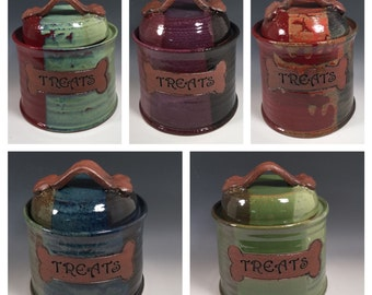 Custom Dog Treat Jar - Cat Treat Jar - Dog Bone Accent - Made to Order - Choose your color - ceramics - pottery - stoneware - pets - feeding