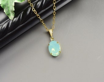 Mint Necklace - Swarovski Crystal Necklace Gold - Wedding Jewelry - Pacific Opal Mint Green Necklace for Bridesmaids - Bridesmaid Jewelry