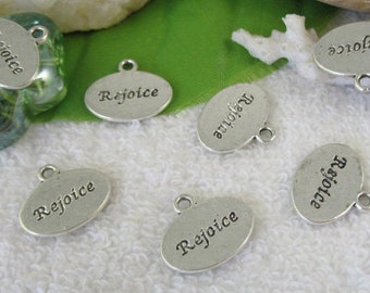 Rejoice Word Charm Antique Silver - sc307