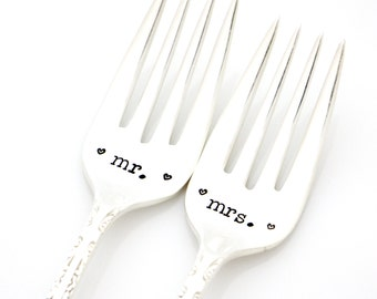 Hand stamped wedding forks. Mr and Mrs silverware for table setting and engagement gift.
