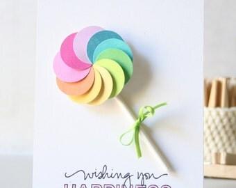 Happy Birthday Card. Lolipop Whimsical Birthday Card. Kids birthday card. girl birthday card