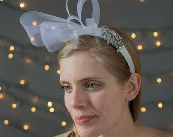 Bridal Headband beautifully accented with horsehair, feathers, and vintage rhinestones,bridal headband,wedding headband, rhinestone headband