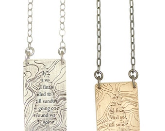Silver or Brass John Muir Necklace, I only went for a walk, redwood, maps  2 part necklace
