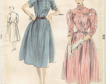1950s Vintage Vogue 7606 Shirtwaist Dress with Short Sleeve or Victorian Leg O' Mutton Sleeve Pattern. Size 12 Bust 30 in.