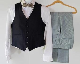 Hipster Check Vest and Pant Set Retro Man Vintage Wedding Reversible Nerd