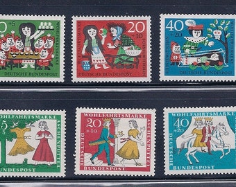 Snow White &  The Seven Dwarfs and Cinderella - Fairy Tale Vintage Stamps - 1960s Germany -  (4 stamps of each)