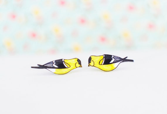 Goldfinch Earrings |  Song Bird |  Wearable Art | Studs or Dangle Earrings
