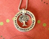 Washer style hand stamped personalized necklace with family tree or other charm silver
