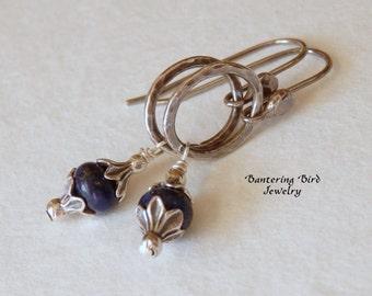 Lapis Earrings on Fine Silver Hoops, Blue Gemstone Sterling Silver Earrings, Lapis Lazuli Jewelry, Gift for Her