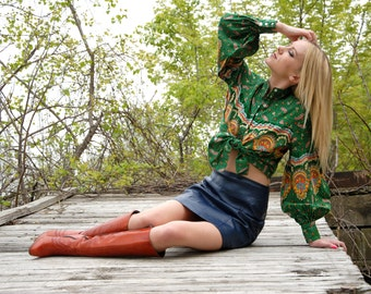 Green paisley blouse, coloful orange bishop poet sleeves, XS S petite