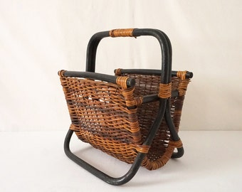 Black Bentwood Rattan and Wicker Vintage Magazine Rack