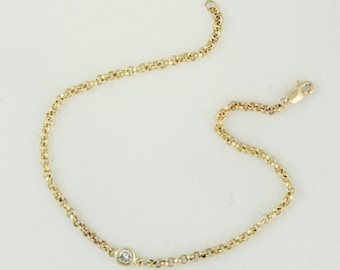 Solid 14k Gold Rolo Chain Bracelet with Bezel Set Diamond - Delicate Gold Bracelet - Small Diamond Bracelet