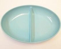 1950s Aqua Blue Melamine Divided Vegetable Bowl Divided Dish Melmac Serving Bowl Retro Kitchen Aqua Watertown Lifetime Ware Bowl DD 913