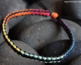 Bold Black Rainbow Hemp Bracelet