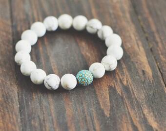White Magnesite & Turquoise Pave Bead Bracelet // Stretch Bracelet // Bracelet Stack