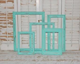 Aqua Mint Frames Set Upcycled Vintage Frames Distressed Frames