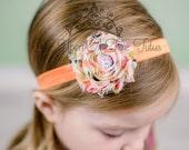 Autumn Polka Dot Shabby Flower Headband - Photo Prop - Orange Tan Lime Green Fall Harvest Polka Dot  Newborn Hair Bow - Little Girls Hairbow