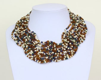 Collar Necklace. Ivory Brown Multi Colour Collar Choker. Bib Necklace. Cleopatra Style Ethnic Necklace. DB02 MapenziGems