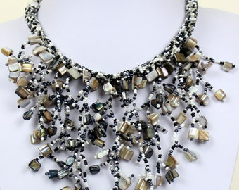 Black Agate Necklace Bib Collar Necklace Fusion  Ethnic Design with Modern Flare Black and White Beads Chunky Choker MapenziGems DB13