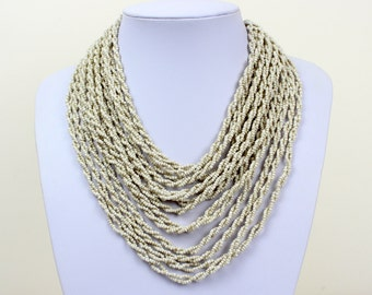Ivory Colour Necklace. Multi Strand Necklace. Bib Necklace. Collar Stlye. Masai Beads. MapenziGems DB24