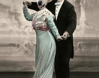 Jack & Rose, Labrador Retriever Print, Vintage Art, Photo Collage, Anthropomorphic, Whimsical Dog Note Cards, Yellow Lab Print, Wall Decor