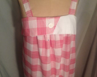 Vintage 80s Nu Venture Plaid Tank Dress Sale d57
