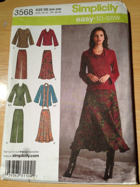 Simplicity 3568 Sewing Pattern Uncut Misses and Womens Top in Two Lengths, Pants, Skirt and Sash or Scarf Size 20-28