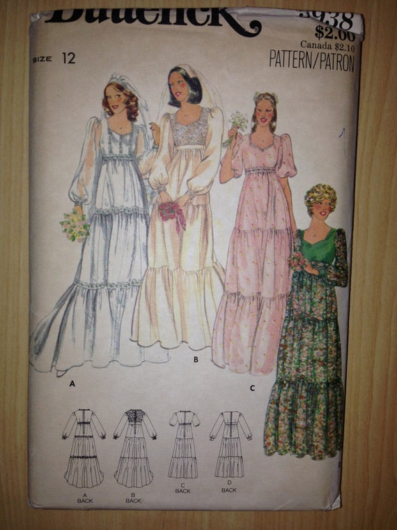 Butterick 5938 Sewing Pattern 70s Misses Bridal Gowns Size 12