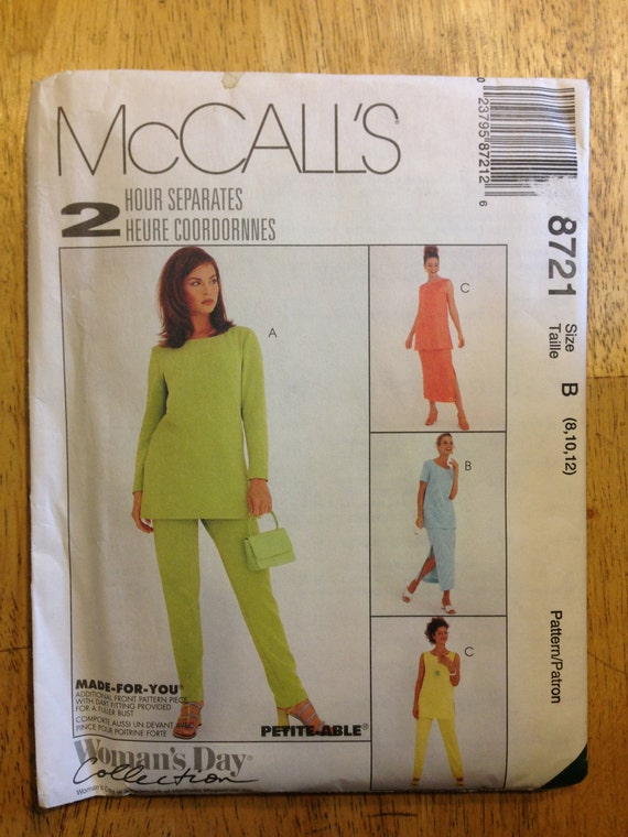 Misses Tunic, Pull On Pants and Skirt McCalls Sewing Pattern 8721 90s Size 8-10-12 Uncut