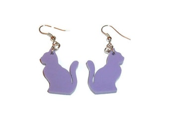 Cat Earrings Cute Kawaii Pastel Lavender Lilac Kitty Dangle Earrings Quirky Kitsch Animal Jewelry