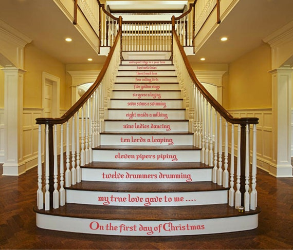 twelve days of christmas christmas stair decals staircase. Black Bedroom Furniture Sets. Home Design Ideas