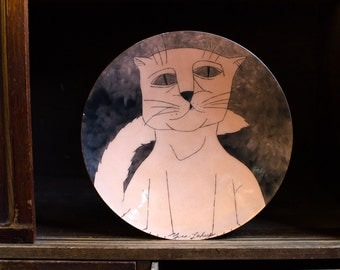 Vintage Abstract Cat Enamel Over Copper Plate - Mid Century