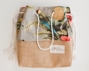Palm Print Burlap Beach Bag The Sandbag in Green Banana Leaf