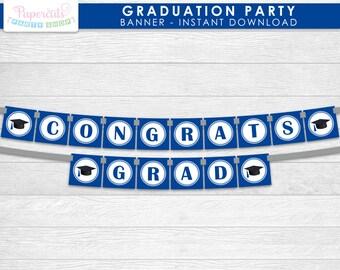 Blue Congrats Grad Graduation Theme Banner Printable DIY Digital File - INSTANT DOWNLOAD