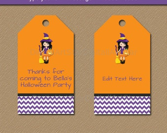 Kids Halloween Tags, Halloween Favor Tags, Printable Halloween Birthday Tags, Halloween Party Favor Tag, Instant Download Girl Witch Tag WDS