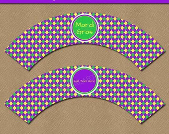 Mardi Gras Cupcake Wrappers - Mardi Gras Party Decor - Printable Party Supplies - EDITABLE Mardi Gras Birthday Cupcake Wrappers Download