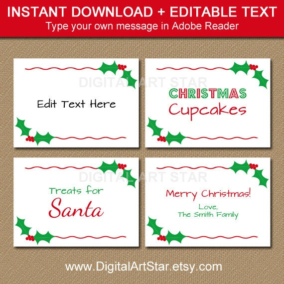 Printable Christmas Labels Tent Cards Holiday Place Cards