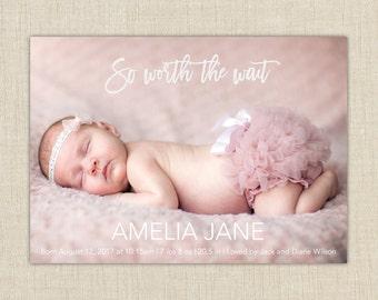 birth announcement girl. photo baby announcement. Worth the wait