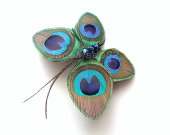 Butterfly Peacock Hair Clip Accessory Peacock Feather Fascinator Hair Piece Butterfly Peacock Feather Hair Accessories Butterfly Hair Clip