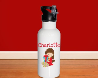Christmas Kids Water Bottle - Christmas Morning Girl Gift with Name, Child Personalized Stainless Steel Bottle BPA Free Back to School