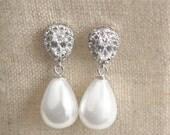 Bridal Earrings - Teardrop Crystal Stud - Teardrop Pearl Dangle - Cubic Zirconia & Pearl Earrings - Wedding Jewelry