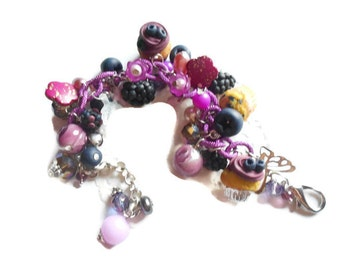 Blueberry cupcakes multi-charm bracelet - gift idea - handmade polymer clay food miniatures