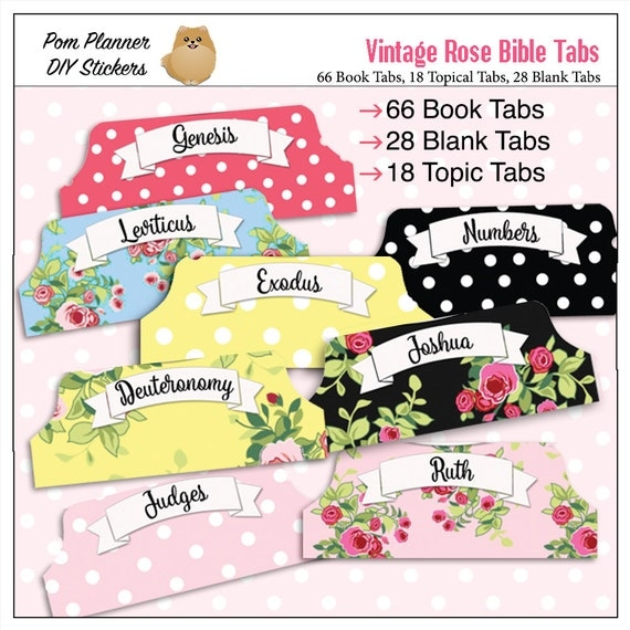 Vintage Rose Bible Tabs for Bible Journalling / 66 Books of the Bible / Blank Tabs