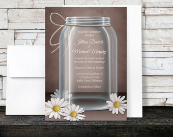Vintage Daisy Mason Jar Wedding Invitations and RSVP - Country Rustic Mason Jar Brown - Printed Invitations