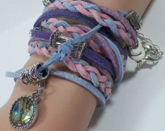 Boho Lavender Leather Triple Wrap Bracelet w/ Loads of Charms & Mother of Pearl Pendant. Fits All Sizes. Great Gift for Mom or the Graduate