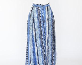 Clearance -1990's Blue Silk Skirt- Blue Floral maxi skirt- high waist summer skirt- Silk 90s Skirt- ladies size large