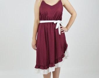 Vintage 1970's RED Day Dress - Red and White Polka Dot Dress with Ruffle Hem - Sweet Boho Folk Summer dress - Size medium