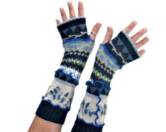 Blue Arm Warmers, Blue Fingerless Gloves, Upcycled Clothing, Upcycled Arm Warmers, OOAK Arm Warmers, Handmade Arm Warmers, Embroidery Gloves
