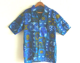 60's TIKI HAWAIIAN SHIRT - Luau / Beach / Retro / Royal Blue / Hawaii / Tropical / Tourist