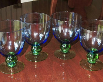 """4 BLUE GOBLETS GREEN Ball Stem Foot Goblets Water Beverage Goblets Glasses 5"""" x 3 1/2"""" Across Stems 10 Oz Crystal Glass Excellent Condition"""